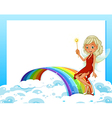 An empty template with a rainbow and a fairy vector image vector image