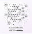 artificial intelligence concept in honeycombs vector image vector image