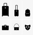 baggage cabin luggage and animals symbols vector image vector image