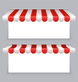 banners with striped awning tents set vector image vector image