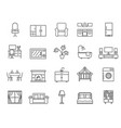 black and white icons household furniture vector image vector image