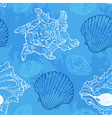 Blue seamless pattern with sea shells vector image