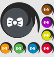 Bow tie icon sign Symbols on eight colored buttons vector image vector image
