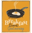 breakfast time with a frying pan and fried eggs vector image vector image