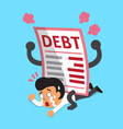 Cartoon a businessman with big debt letter vector image vector image
