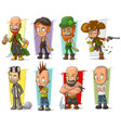 cartoon cool funny different characters set vector image vector image