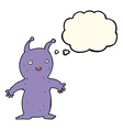 cartoon happy little alien with thought bubble vector image