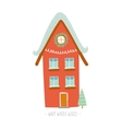 Christmas card with winter character house vector image vector image
