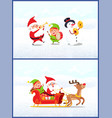 christmas characters santa with elf and snowman vector image