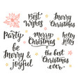 christmas holidays hand lettering set vector image vector image