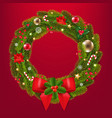 christmas wreath with red ribbon and bow red vector image vector image