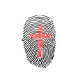 cross thumb prints or fingerprint showing vector image vector image