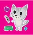 cute cat cartoon sticker set on blue background vector image vector image