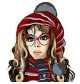 cute girl with long hair blue eyes glasses vector image vector image