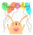 Cute happy birthday card with funny leveret vector image vector image