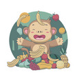 cute monkey trow fruits food festival vector image
