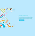 drug or medicine pills template banner with free vector image