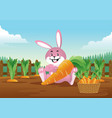 easter bunny with basket full of carrots vector image