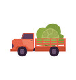flat farmer truck pickup delivering harvest food vector image