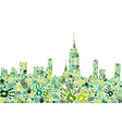 Go green hands city skyline background vector image