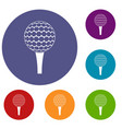 golf ball on a tee icons set vector image vector image