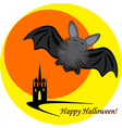halloween inllustration with bat moon and castle vector image vector image