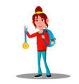 happy child girl winner with gold medal vector image