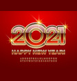 happy new year 2021 red and gold alphabet set vector image