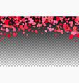 heart confetti falling background valentine s love vector image