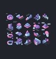 hud isometric infographic 3d futuristic elements vector image