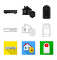 isolated object office and house symbol set of vector image