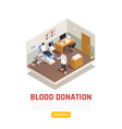 isometric blood donation background vector image vector image