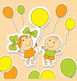 kids playing with balloons in cartoon style vector image