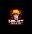 logo monkey e sport and sport style vector image vector image