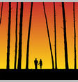 lovers in forest at sunset vector image vector image