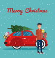 man holding a box with gifts in hands retro red vector image vector image