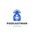 man mic headphone podcast sing logo icon vector image