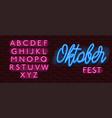 neon banner alphabet font bricks wall oktoberfest vector image