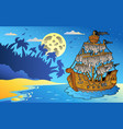 night seascape with mysterious ship vector image