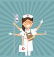 nurse multitasking on a retro background vector image