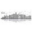 outline seoul south korea city skyline with vector image vector image