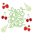 pear cherry strawberry fruit labyrinth game for vector image vector image