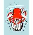 Red Octopus Playing Drums vector image