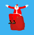 santa claus sitting on red bag isolated christmas vector image