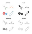 scissors for sewing hanger equipment button vector image