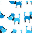seamless blue dog pattern vector image vector image