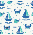 seamless pattern with sailing ship fish and crabs vector image vector image
