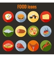 set food icons on colorful round buttons vector image vector image