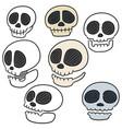 set of skull cartoon vector image