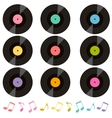 set of vinil records and music notes vector image vector image